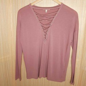 Express One Eleven Lace Up Front Top. Small
